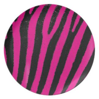 Placa rosada del melanine de la cebra plato de cena