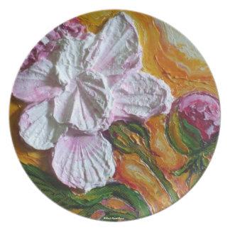 Placa rosada del Peony Plato De Comida