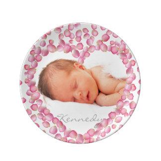 Placa rosada del personalizado del marco del platos de cerámica