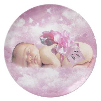 Placa rosada del regalo de la fantasía de las nube plato de comida