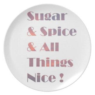 Placa rosada del texto del azúcar y de la especia plato de cena