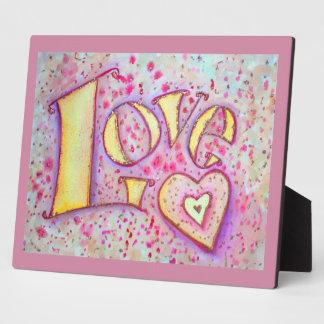 Placa rosada dulce del poema de la pintura del