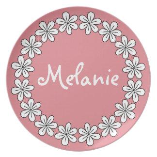 Placa rosada femenina de la flor para los niños platos de comidas
