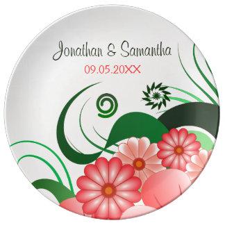 Placa rosada floral de la porcelana del boda 10,75 platos de cerámica