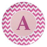 Placa rosada personalizada de Chevron Plato De Cena
