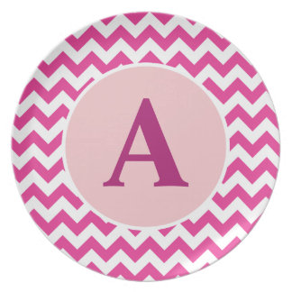 Placa rosada personalizada de Chevron Platos De Comidas
