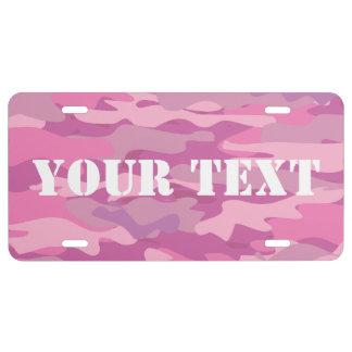 Placa rosada personalizada del color del camuflaje placa de matrícula