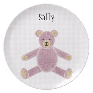 Placa rosada personalizada del oso de peluche para plato