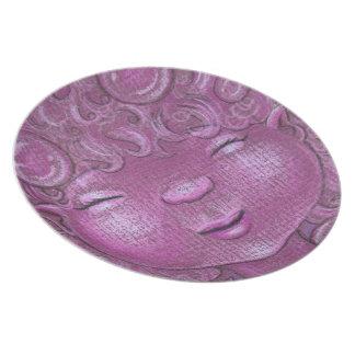 Placa rosada principal soñolienta burbujeante bril plato
