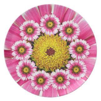 Placa rosada y amarilla de la margarita del Gerber Platos Para Fiestas