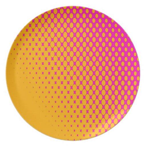 Placa rosada y anaranjada platos