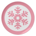 Placa rosada y blanca del copo de nieve platos de comidas