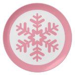Placa rosada y blanca del copo de nieve platos para fiestas