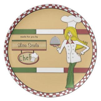 Placa rubia personalizada personalizado del cocine plato de cena