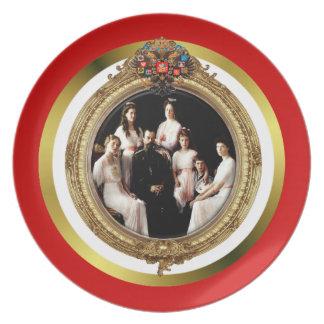 Placa rusa de la familia imperial plato de cena