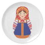 Placa rusa de Matryoshka del chica Plato De Comida