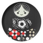 Placa rusa negra de la muñeca de Babushka Matryosh Platos Para Fiestas