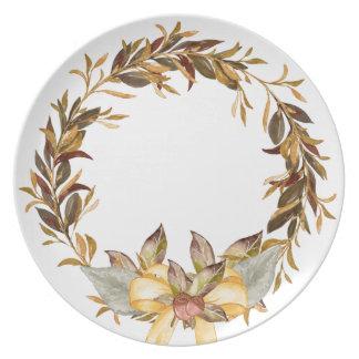 Placa rústica de la melamina de la guirnalda de la platos