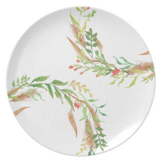 Placa rústica de la melamina de la guirnalda del plato
