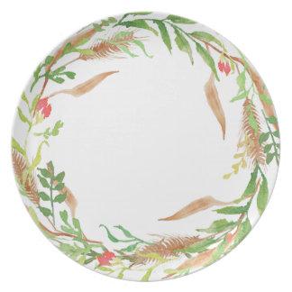 Placa rústica de la melamina de la guirnalda del platos