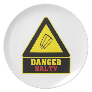 Placa salada del fiesta del peligro blanco platos para fiestas