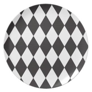 Placa salvaje blanca del modelo del diamante del H Platos De Comidas