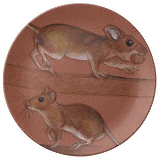 placa salvaje de la porcelana de los ratones platos de cerámica