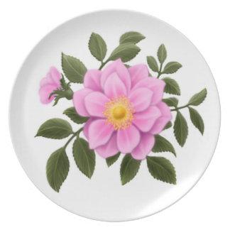 Placa salvaje de los rosas de Deco Plato De Cena