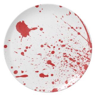 Placa sangrienta de la salpicadura de Halloween Plato De Cena