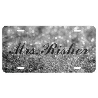 Placa - señora Glitter Placa De Matrícula