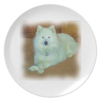 Placa sofisticada del samoyedo platos para fiestas