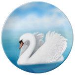 Placa solitaria de la porcelana del cisne mudo plato de cerámica