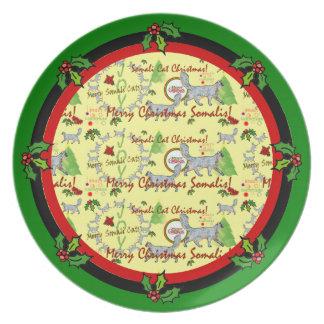 Placa somalí del navidad de los gatos platos para fiestas