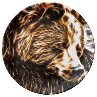 Placa soñolienta de la porcelana del oso por los plato de cerámica
