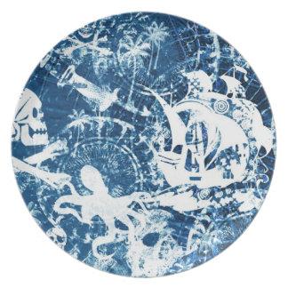 Placa sucia azul del fondo del pirata platos para fiestas