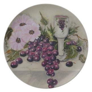 Placa Taza-Roja de las uvas de Kiddush Plato Para Fiesta