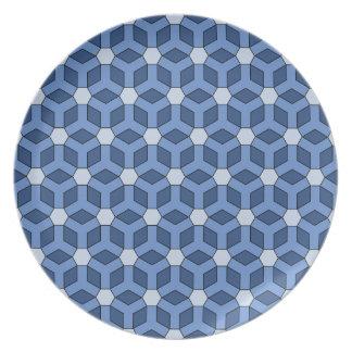 Placa tejada azul del maleficio plato de cena