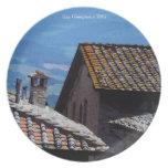 Placa - tejados sobre San Gimignano Platos Para Fiestas