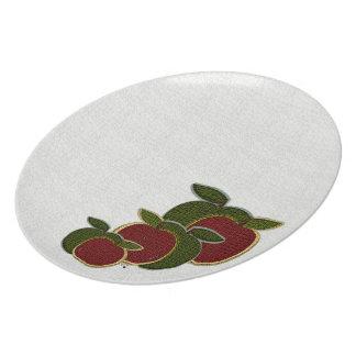 Placa texturizada de las manzanas (blanca) plato