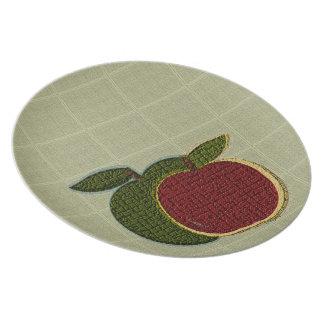 Placa texturizada de las manzanas (sabio) platos