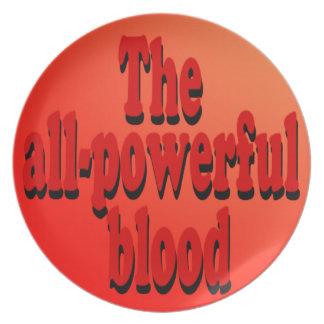 Placa todopoderosa de la sangre plato
