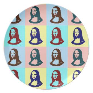 Placa transparente de Mona Lisa del arte pop Plato