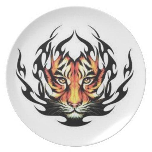 Placa tribal de la melamina del tigre plato para fiesta