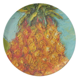 Placa tropical de la piña de París Plato De Comida