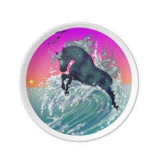 Placa tropical de la porcelana del unicornio del plato de cerámica