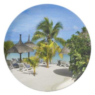 Placa tropical exótica de la playa plato de comida