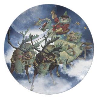 Placa-Twas de la galleta de Santa la noche antes d Platos De Comidas