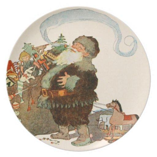Placa-Twas de la galleta de Santa la noche antes d Plato De Comida