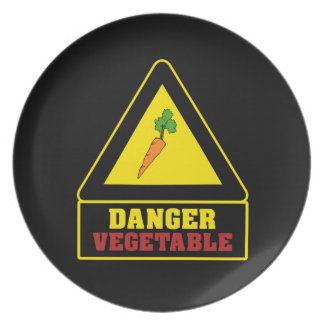 Placa vegetal del fiesta del peligro negro plato para fiesta