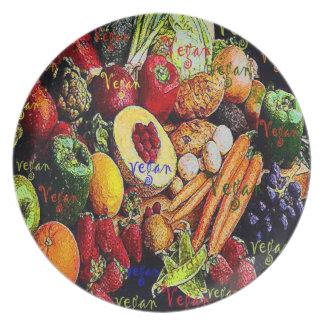 Placa vegetariana de las legumbres de frutas del v plato